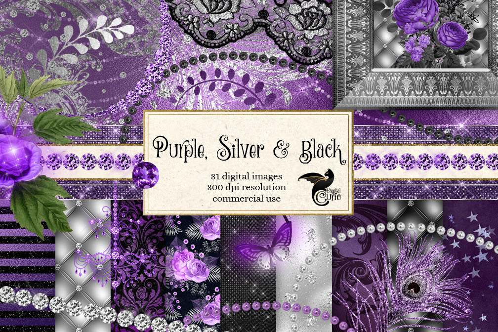 Black Purple and Silver Digital Scrapbooking Kit example image 1