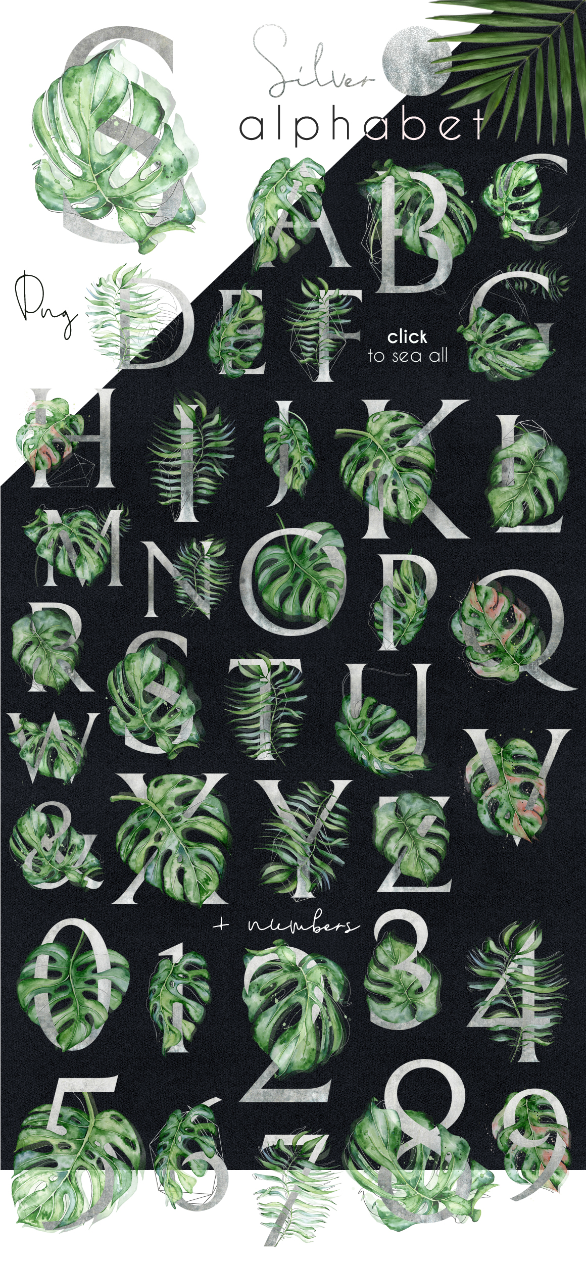 Mistery Monstera - tropical leaves watercolor illustration example image 6