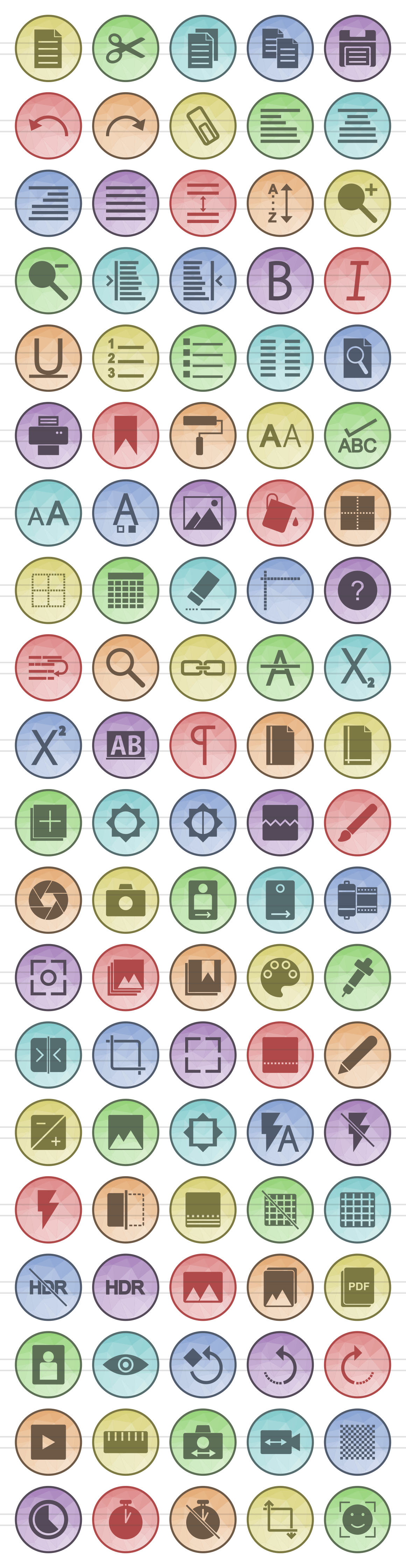 100 Photo & Text Editing Filled Low Poly Icons example image 2