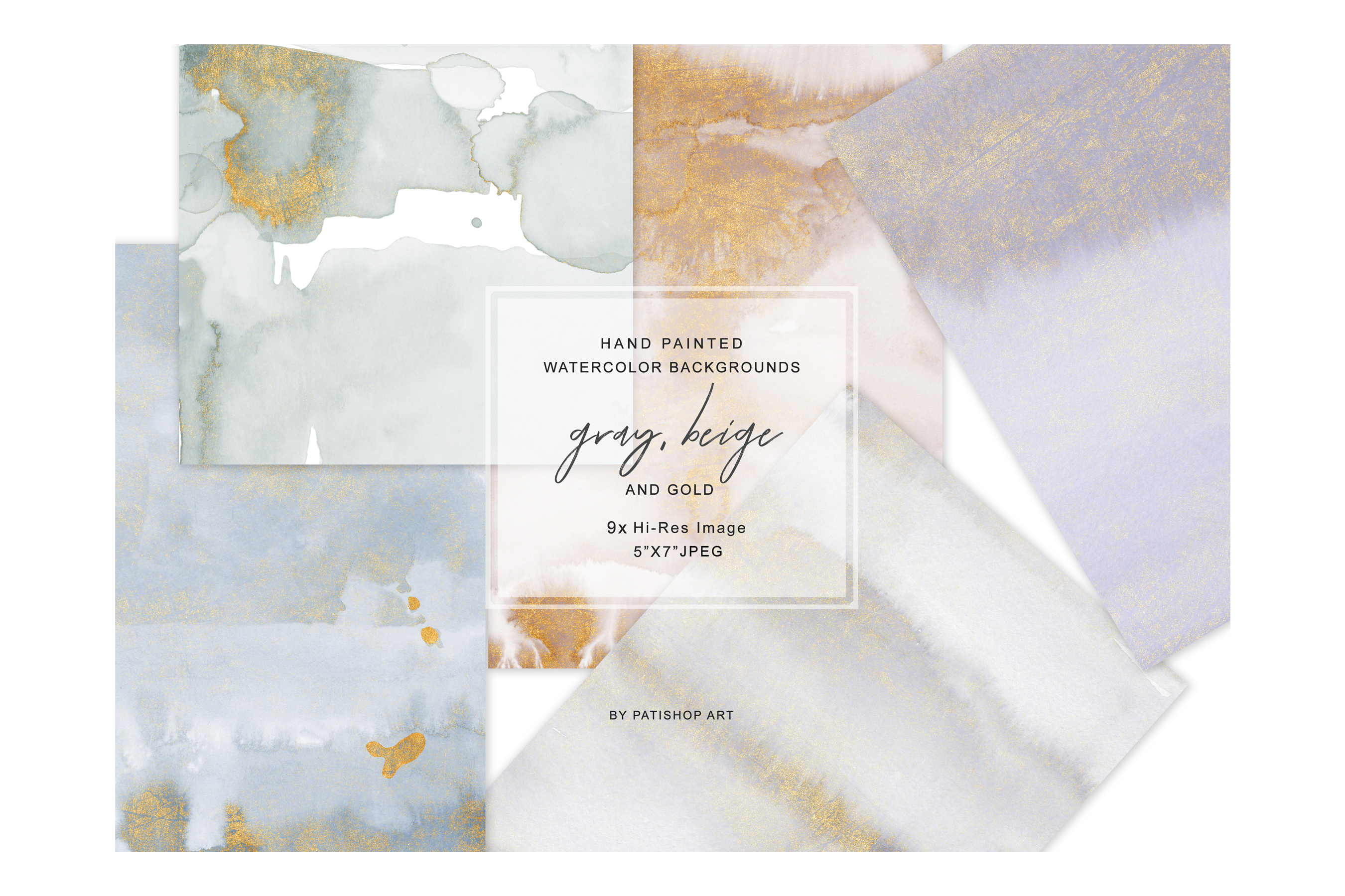 Watercolor Glittered Gray & Beige Background 5x7 example image 3