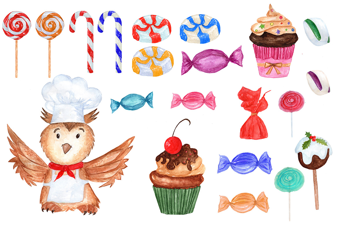 Watercolor Christmas Sweets clipart example image 2