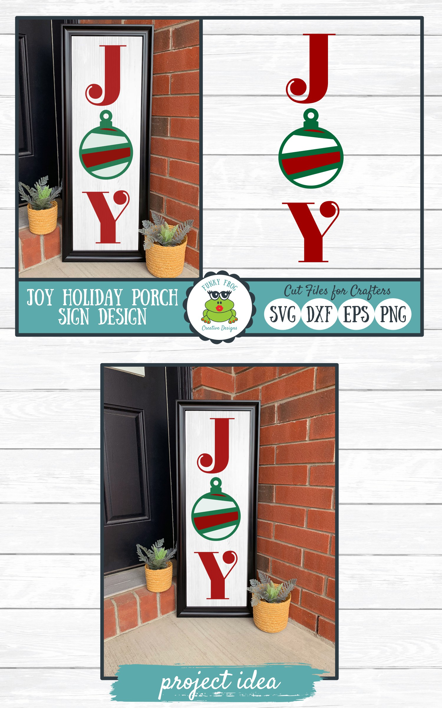 Joy Holiday Porch Sign Design, SVG Cut File for Crafters example image 4