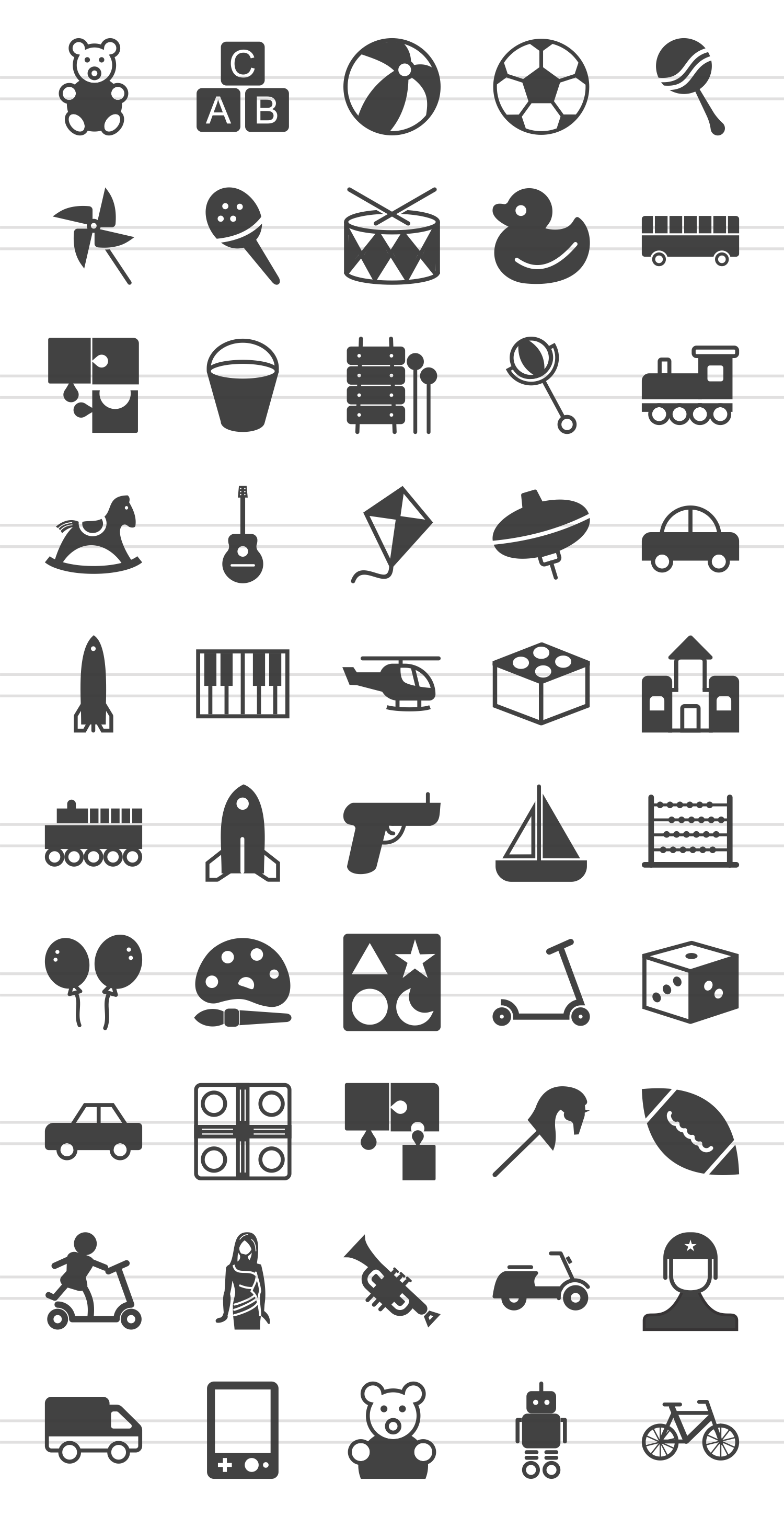 50 Toy Set Glyph Icons example image 2