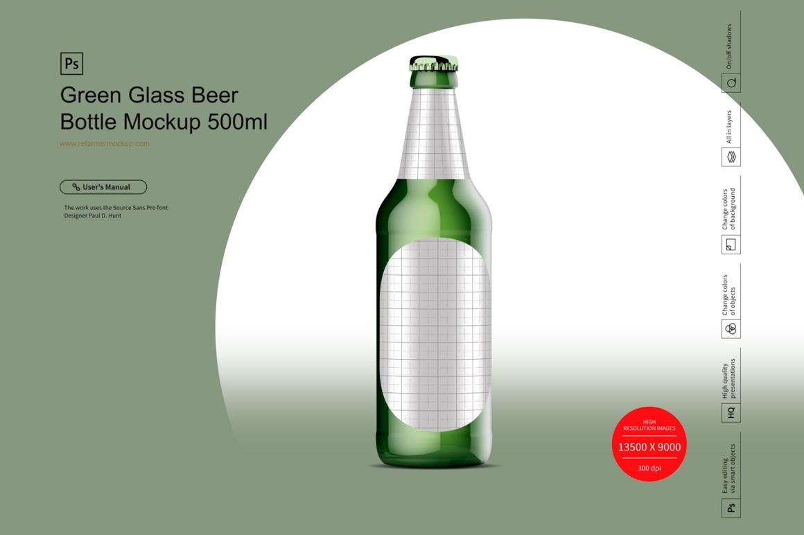 Green Glass Beer Bottle Mockup 500ml example image 2