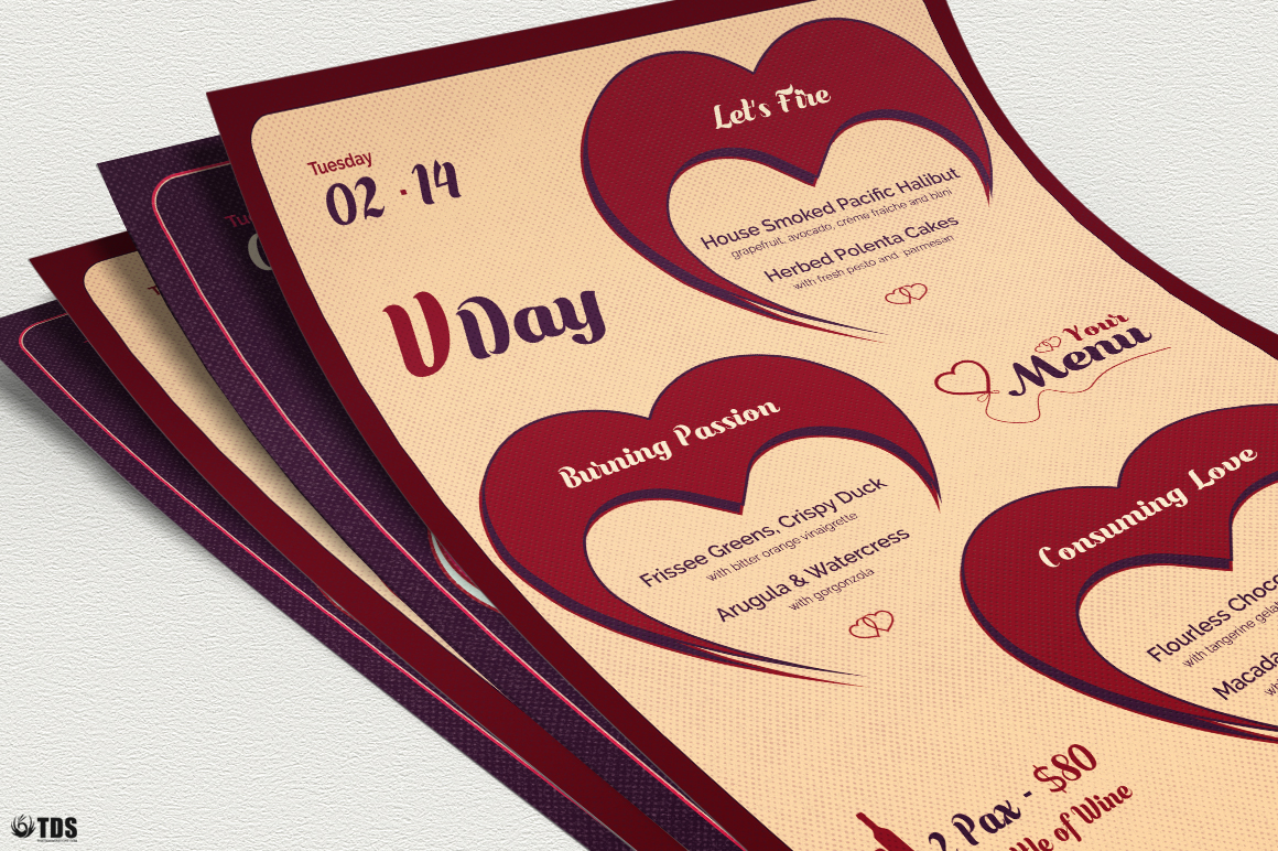 Valentines Day Menu Template V9 example image 5