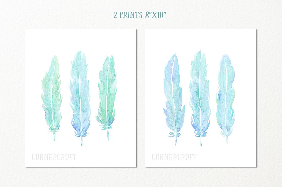 Watercolor Aqua Feathers example image 4