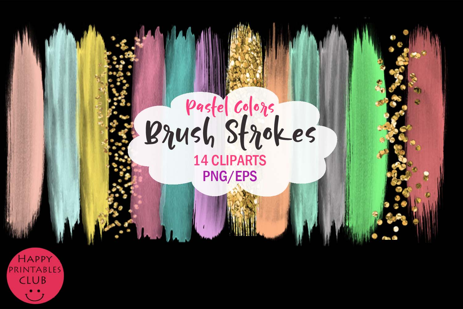 Pastel Colors Brush Strokes- Pastel Brush Strokes Clipart example image 2