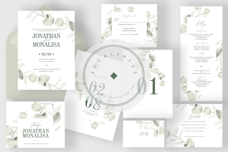 6 IN 1! Eucalyptus Wedding invitations bundle example image 3