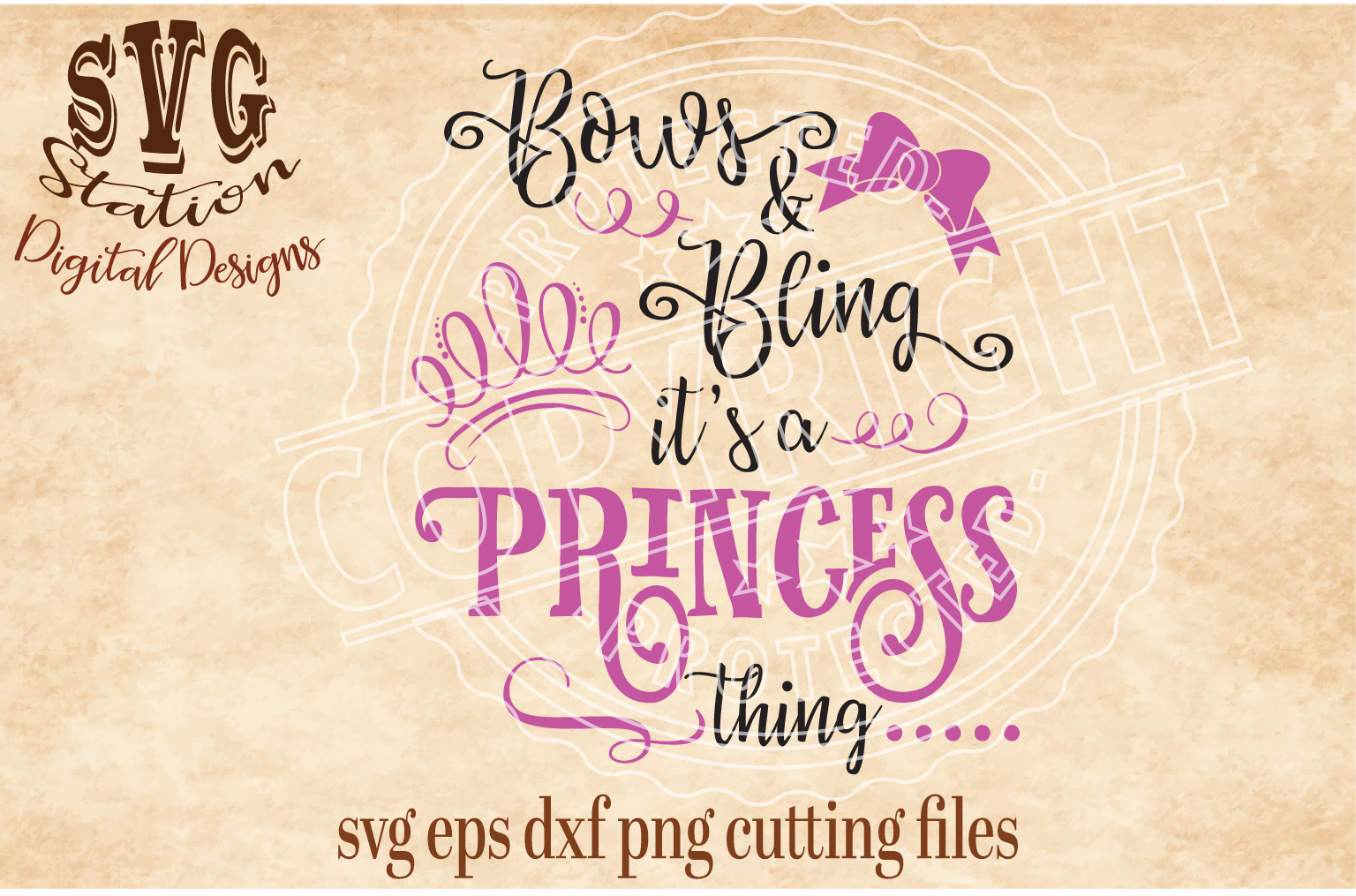 Bows And Bling It's A Princess Thins Cut File example image 1
