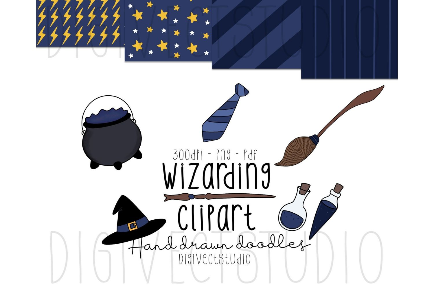 Wizarding Clipart Blue - Witch Clipart - Wizard Clipart example image 1