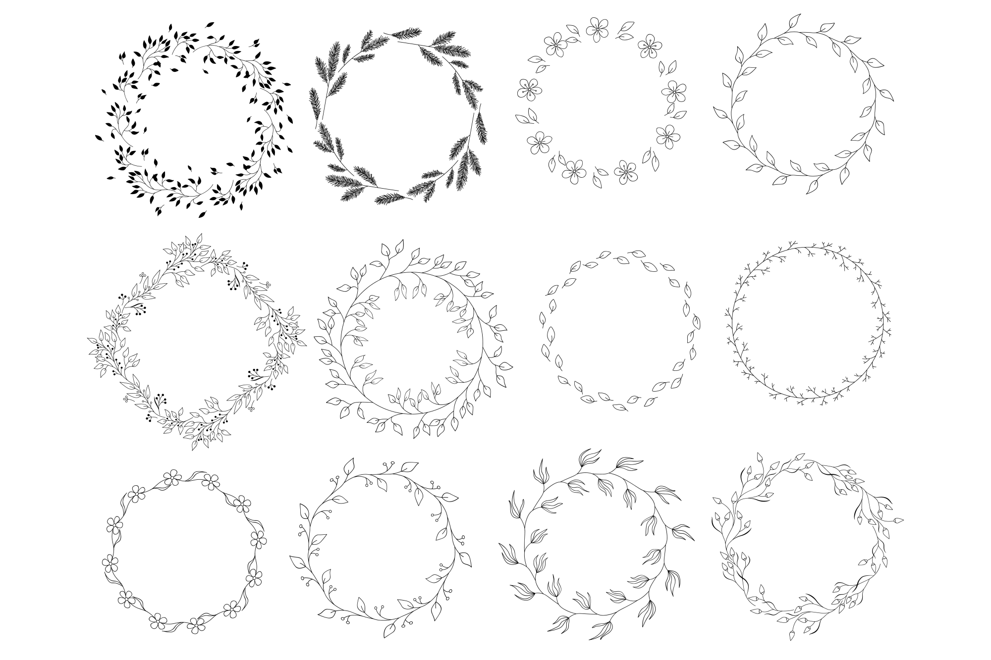 450 handsketched elements. Nature mega pack example image 17