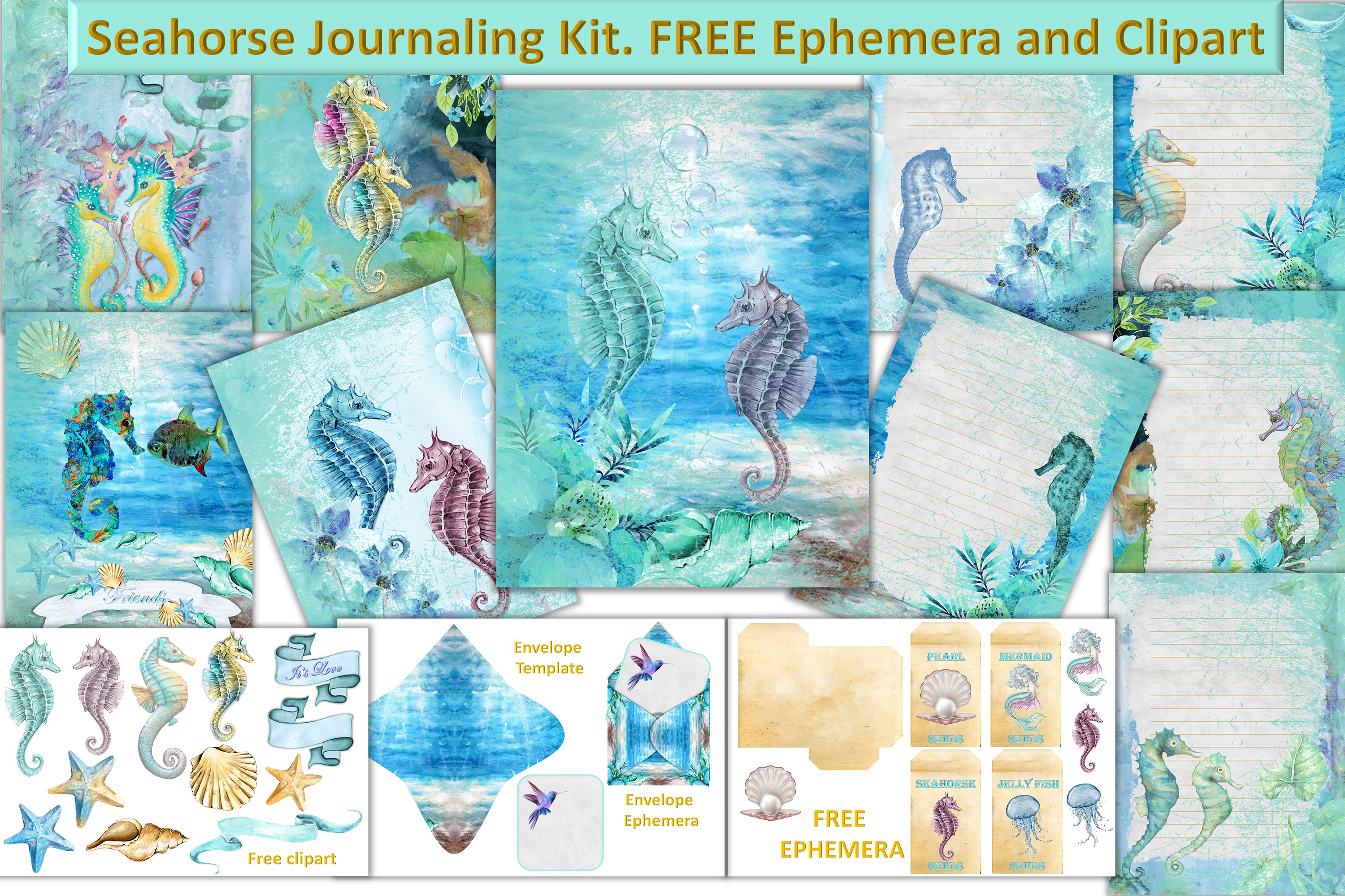 Seahorses Journaling pages FREE Clipart and Ephemera example image 1
