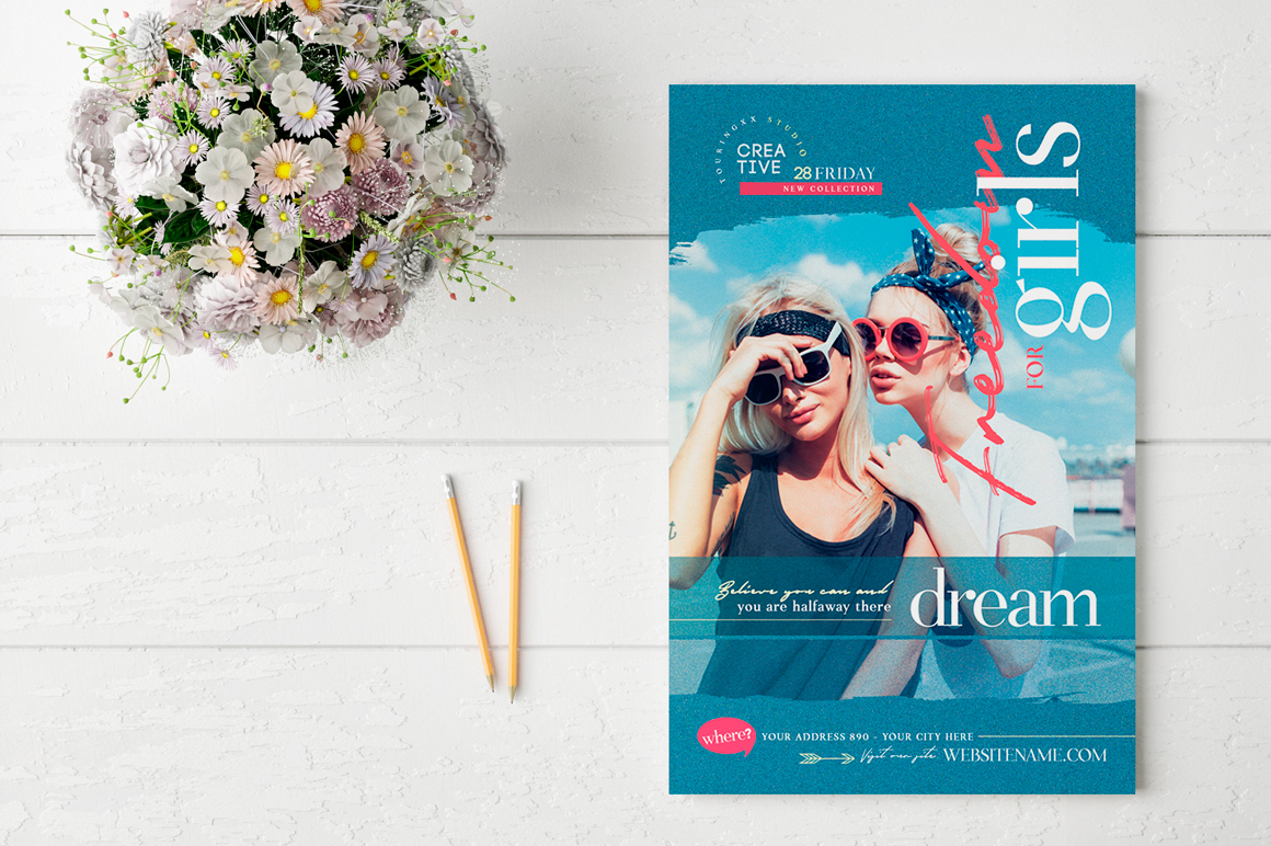 Freedom For Girls Flyer Template example image 2