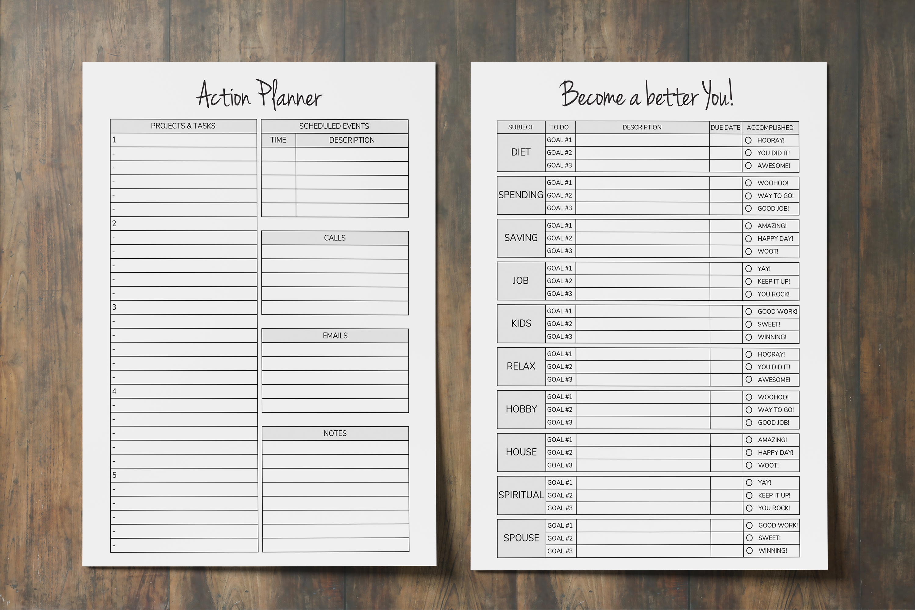 Productivity Planner Printable, Goal Plan, Time Management example image 2