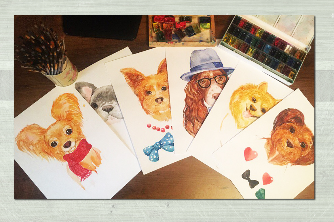 watercolor , cute dogs example image 3