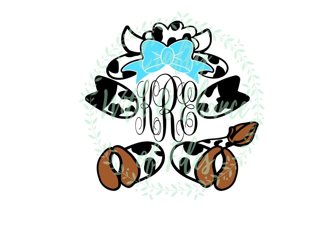 Cow Monogram SVG - Easter Animal Design example image 1
