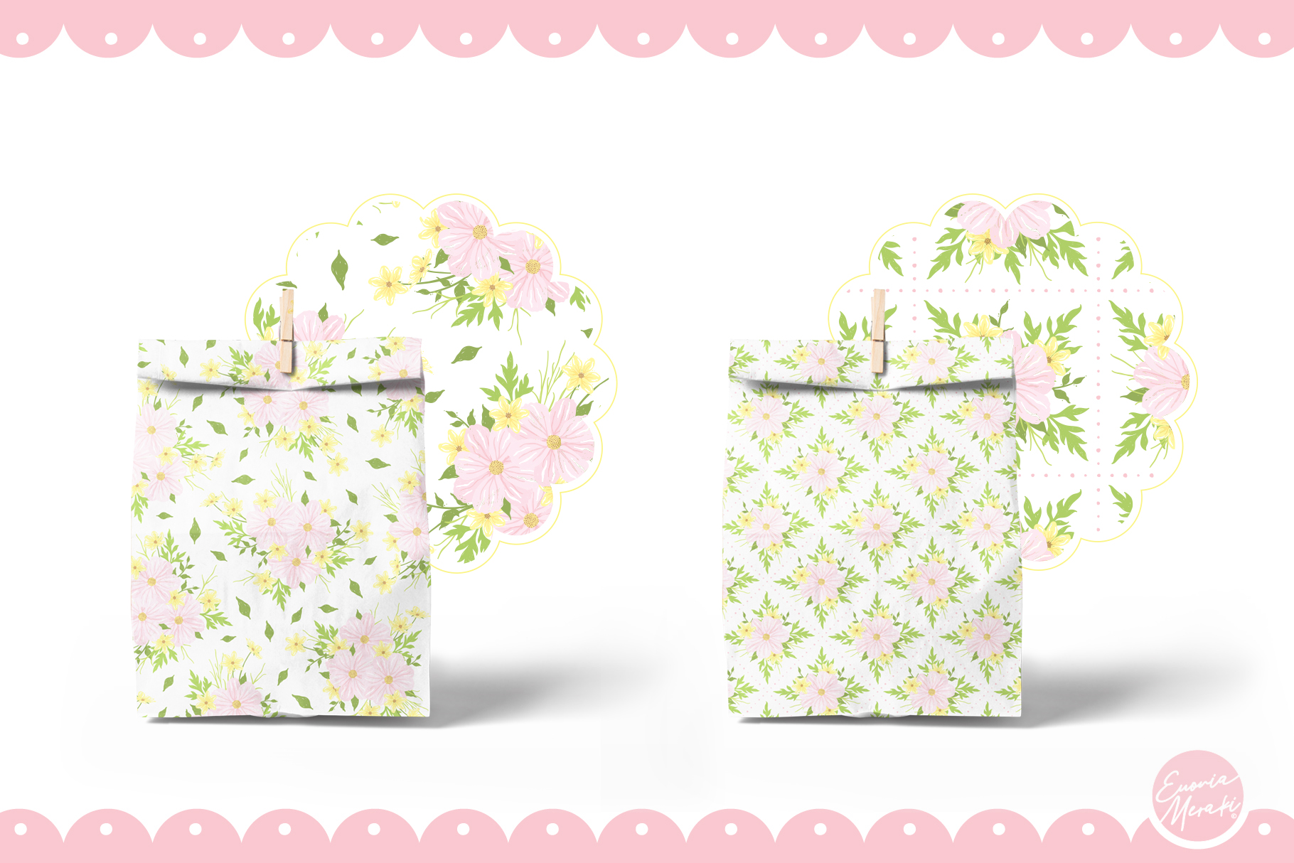 Pink Flower Seamless Patterns example image 5