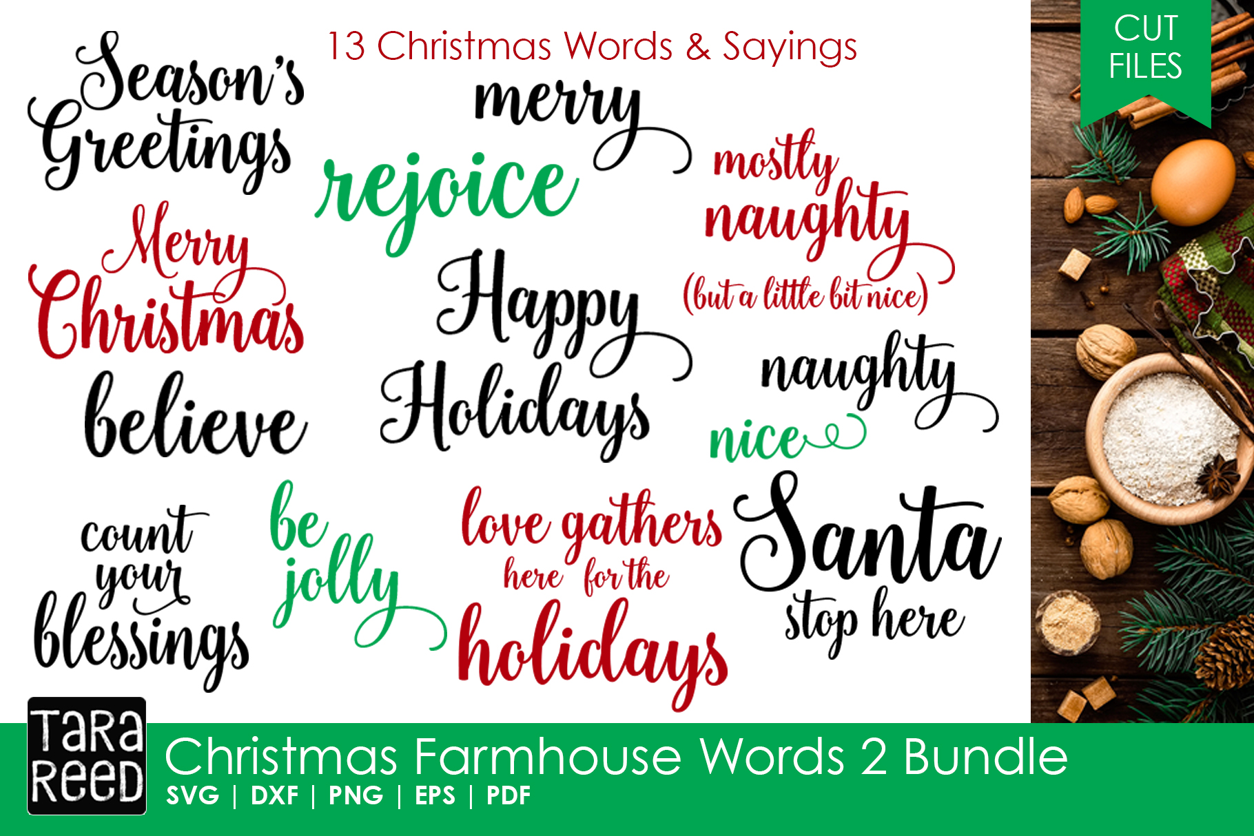 christmas farmhouse words 2 bundle example image 1 - Christmas Words That Start With S