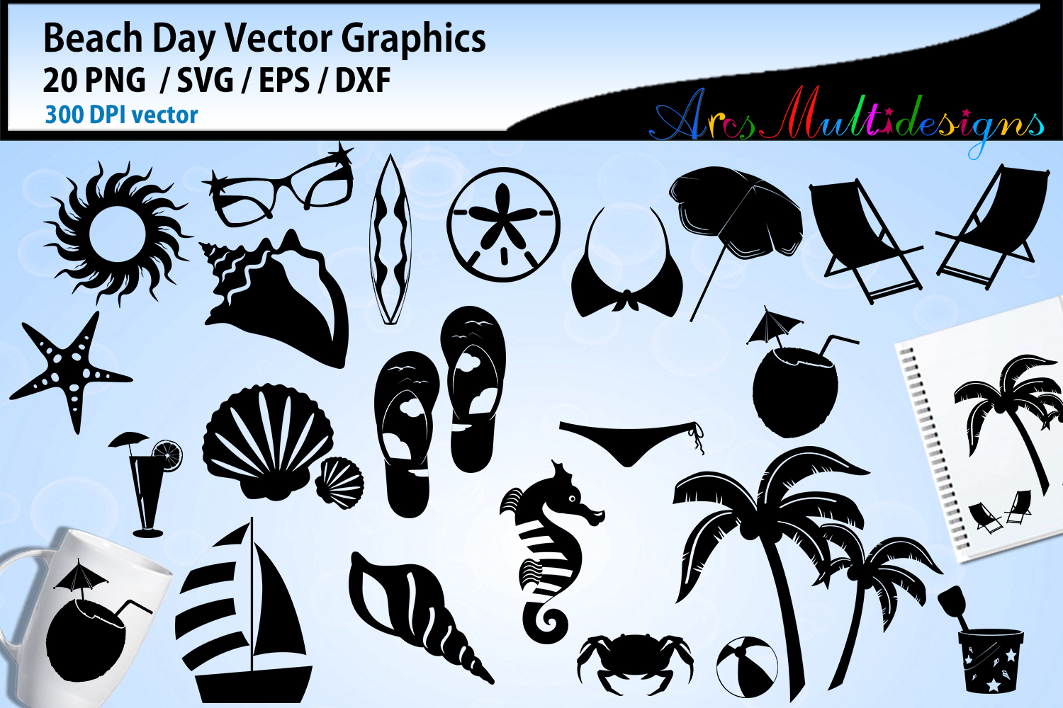 Beach day vector graphics / beach day silhouette clipart svg example image 1