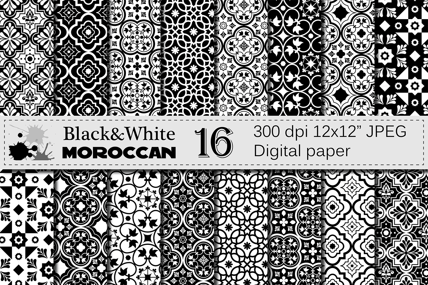 Black and White Moroccan Digital Paper Pack / Ethnic Tribal Geometric Ornamental Digital papers / Moroccan backgrounds / Scrapbooking paper example image 1