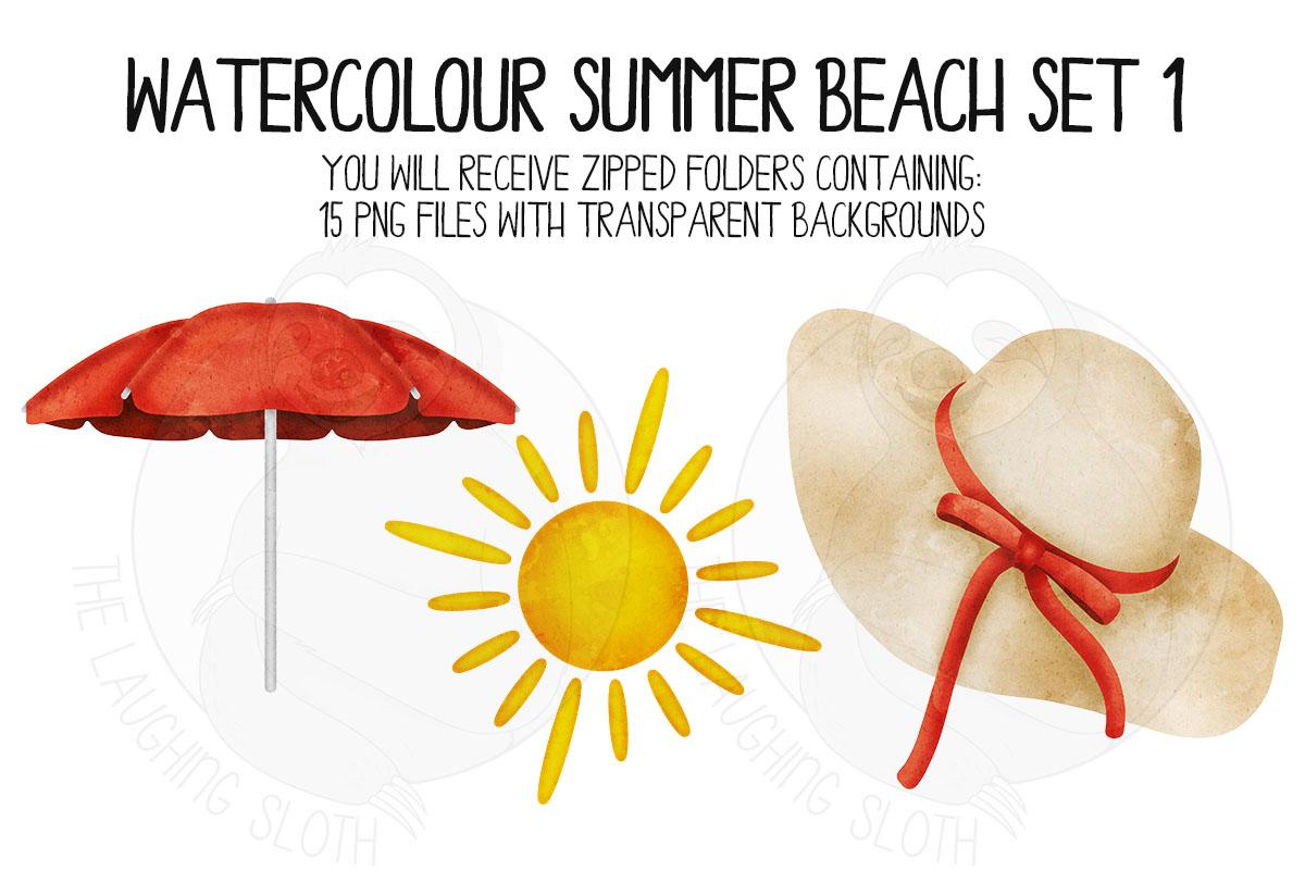 Watercolor Summer Beach Clip Art Set 1 example image 5