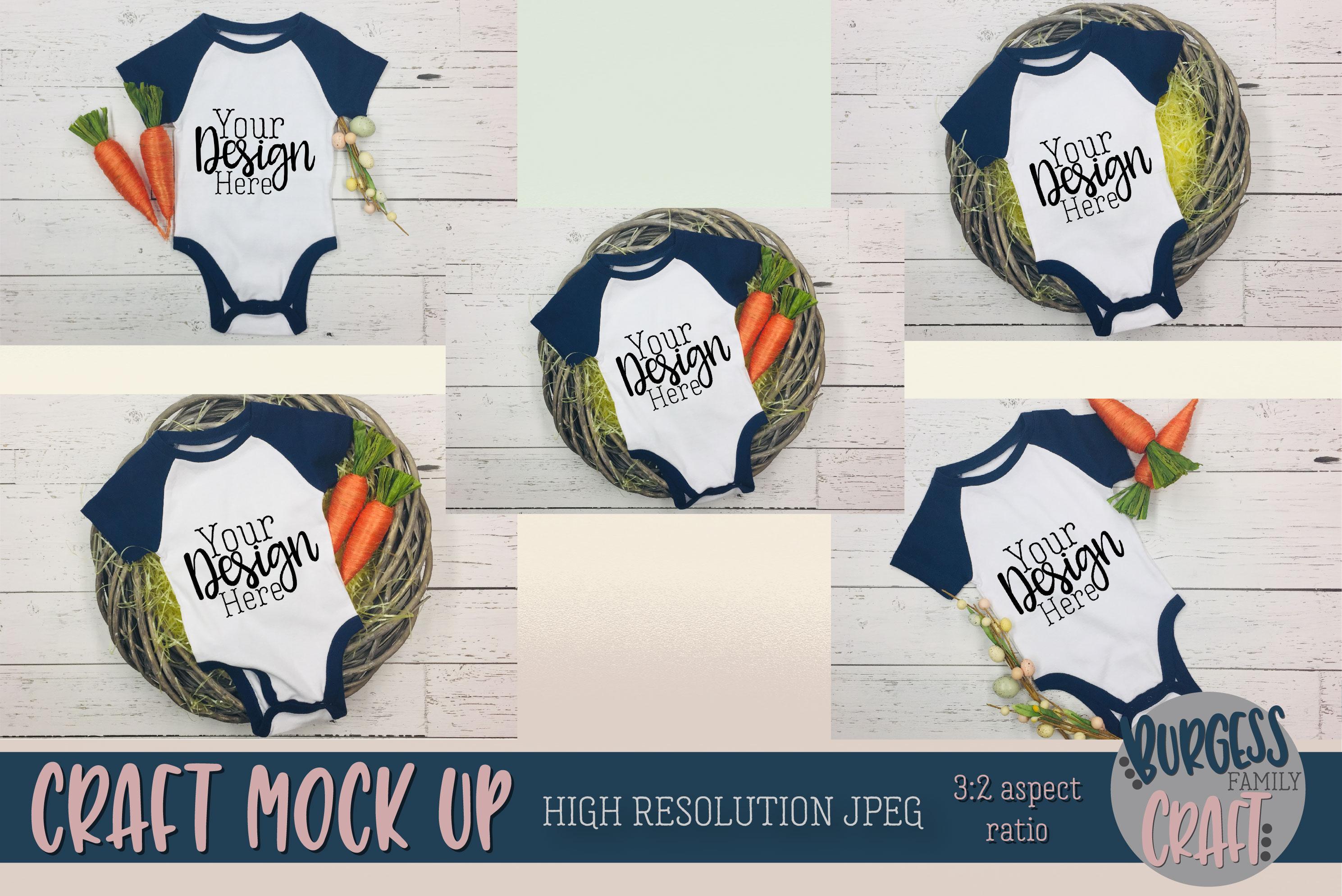 Easter Baby bodysuit Craft mock ups |High Resolution JPEG example image 1