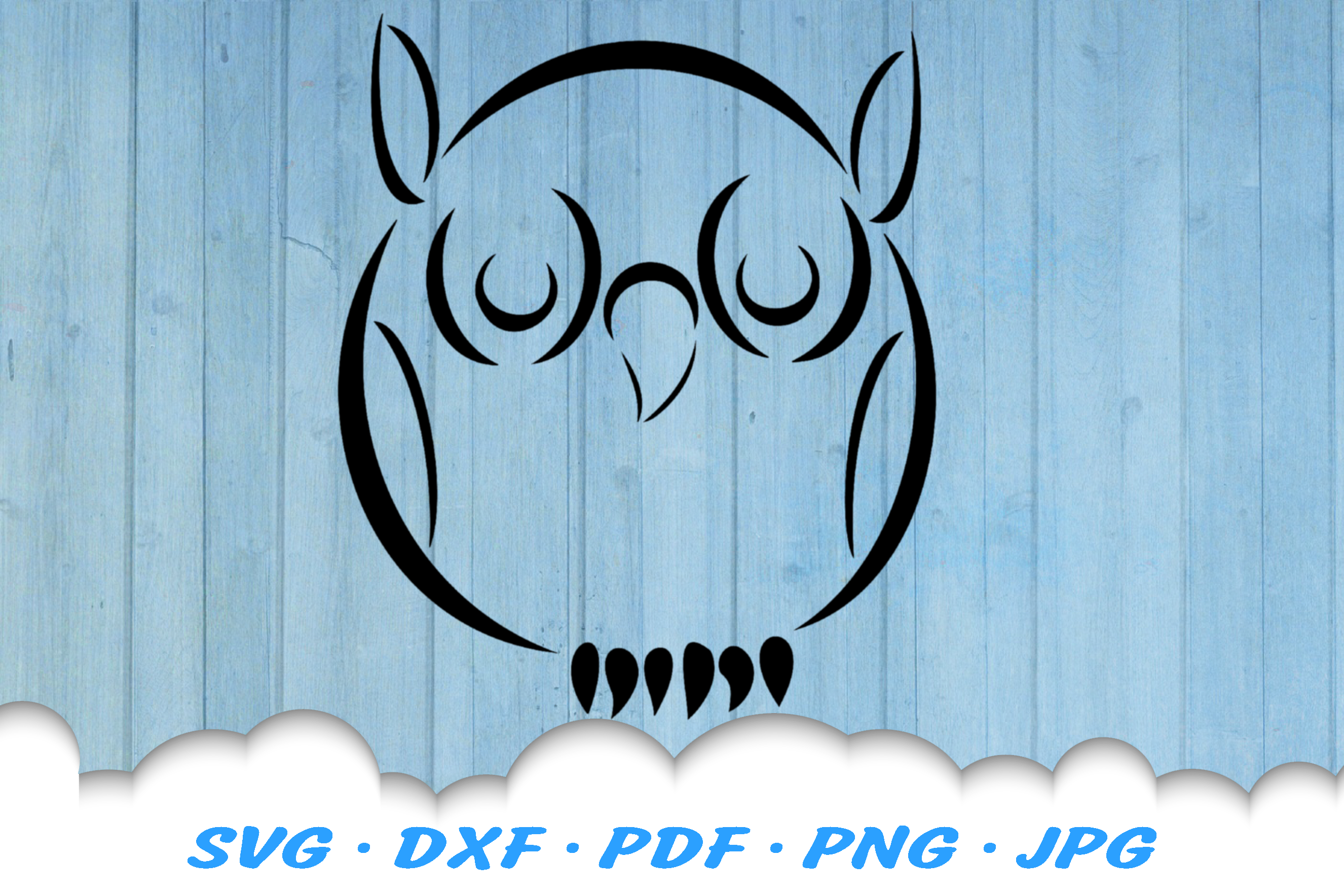 Tribal Owl SVG DXF Cut Files example image 2