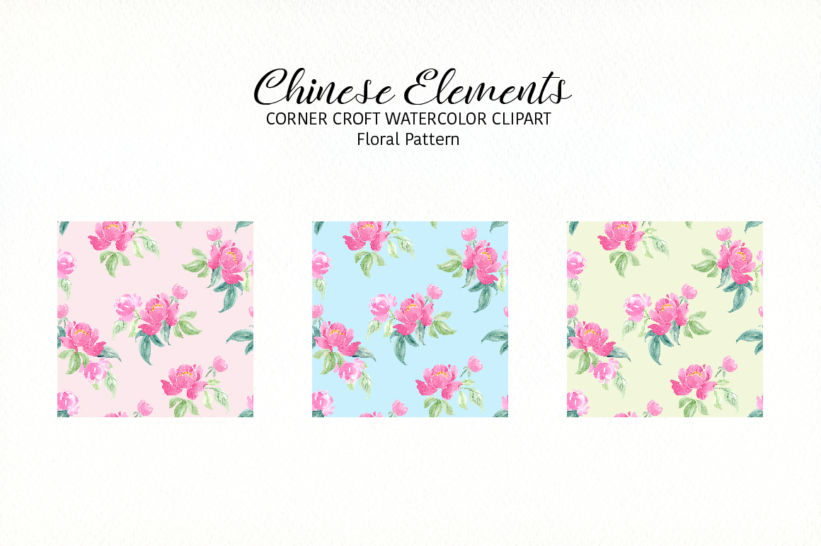 Watercolor Chinese Elements clipart example image 4
