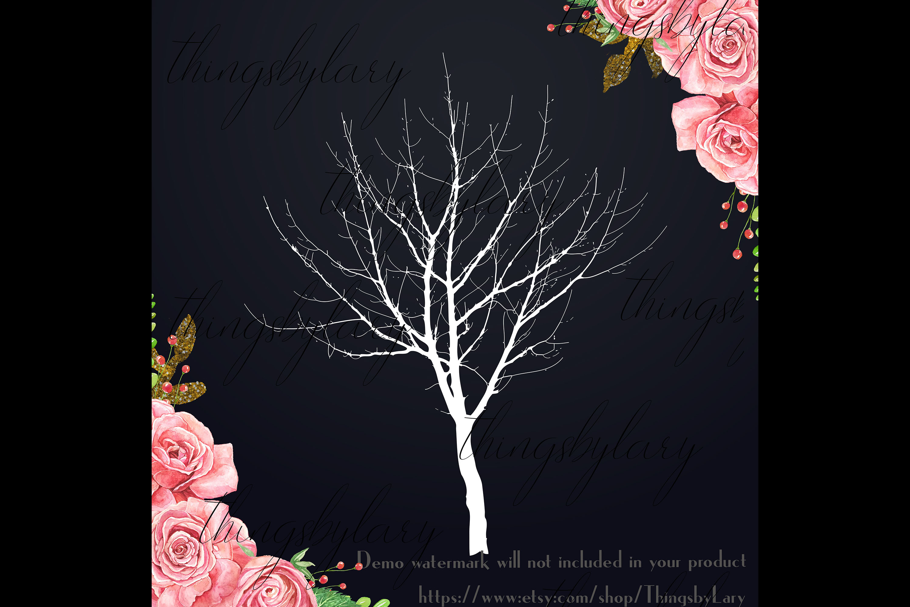 256 Winter Tree Branch Silhouette Wedding PNG Digital Images example image 4