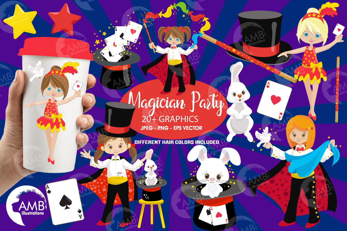 Girl's Magician Party clipart, graphics, illustrations AMB-1192 example image 1