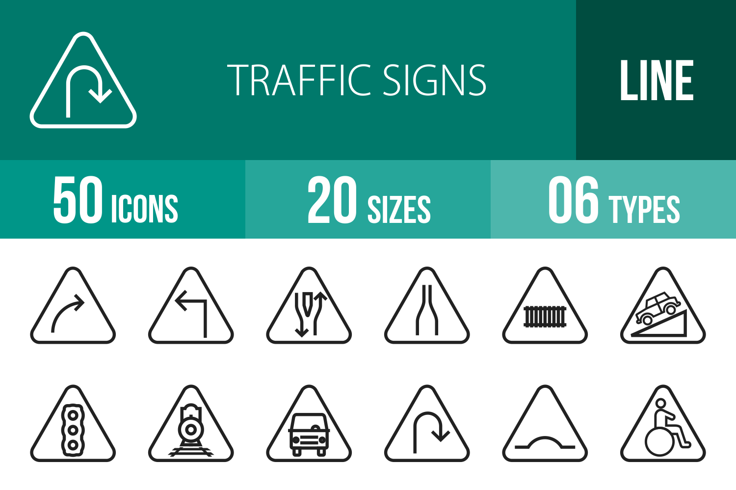 50 Traffic Signs Line Icons example image 1