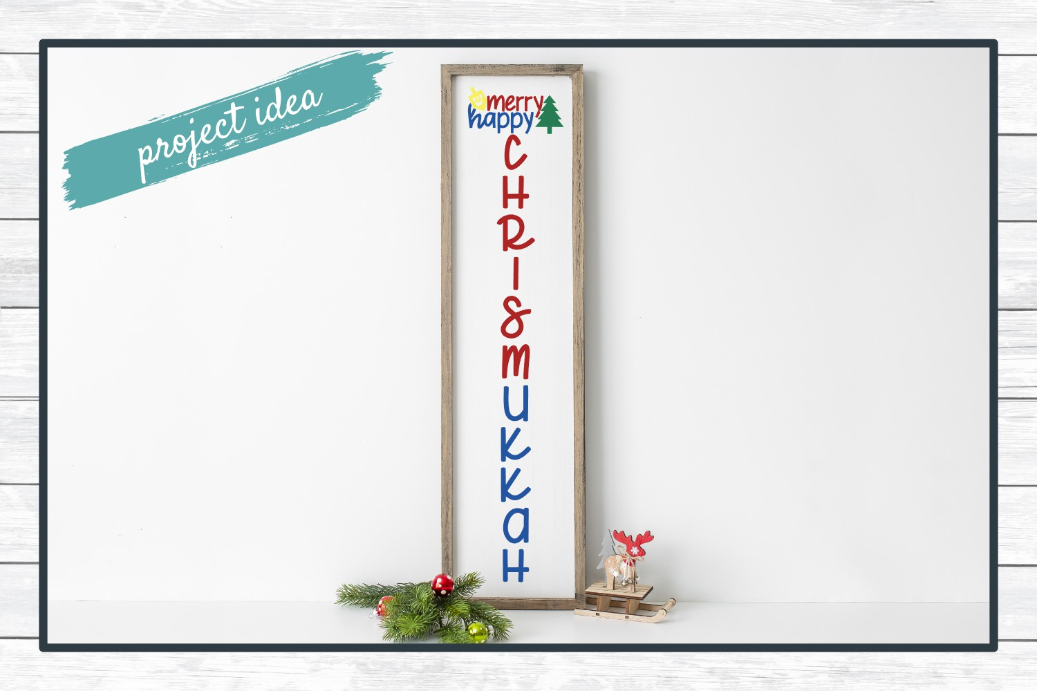 Merry Happy Chrismukkah Holiday Porch Sign Design, SVG example image 2