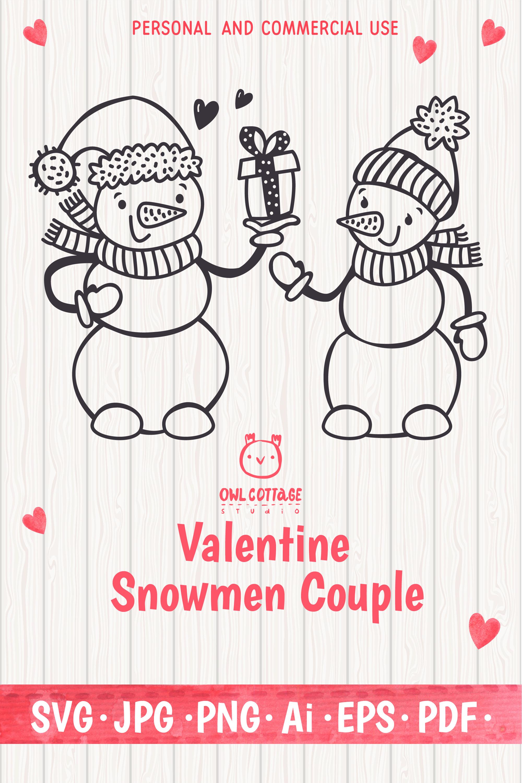 Valentine snowman, Snowman Holding gift Svg, Valentine's Day example image 10