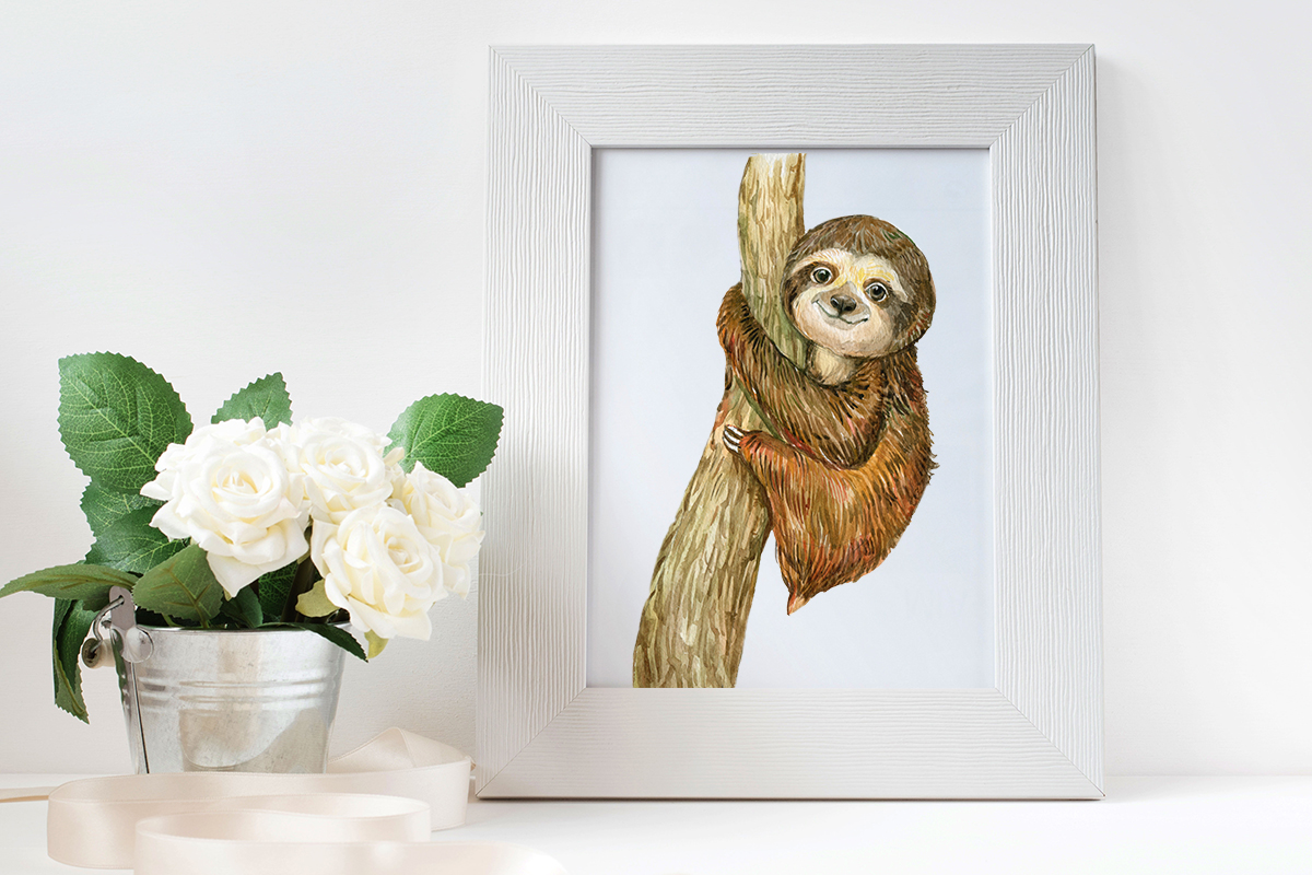 Sloth. Watercolor Clipart. example image 3