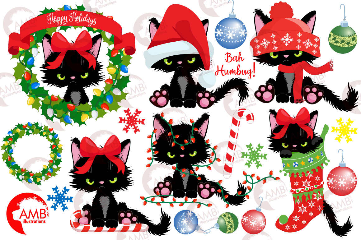 Christmas Graphic.Christmas Kitty For Christmas Clipart Amb 2660