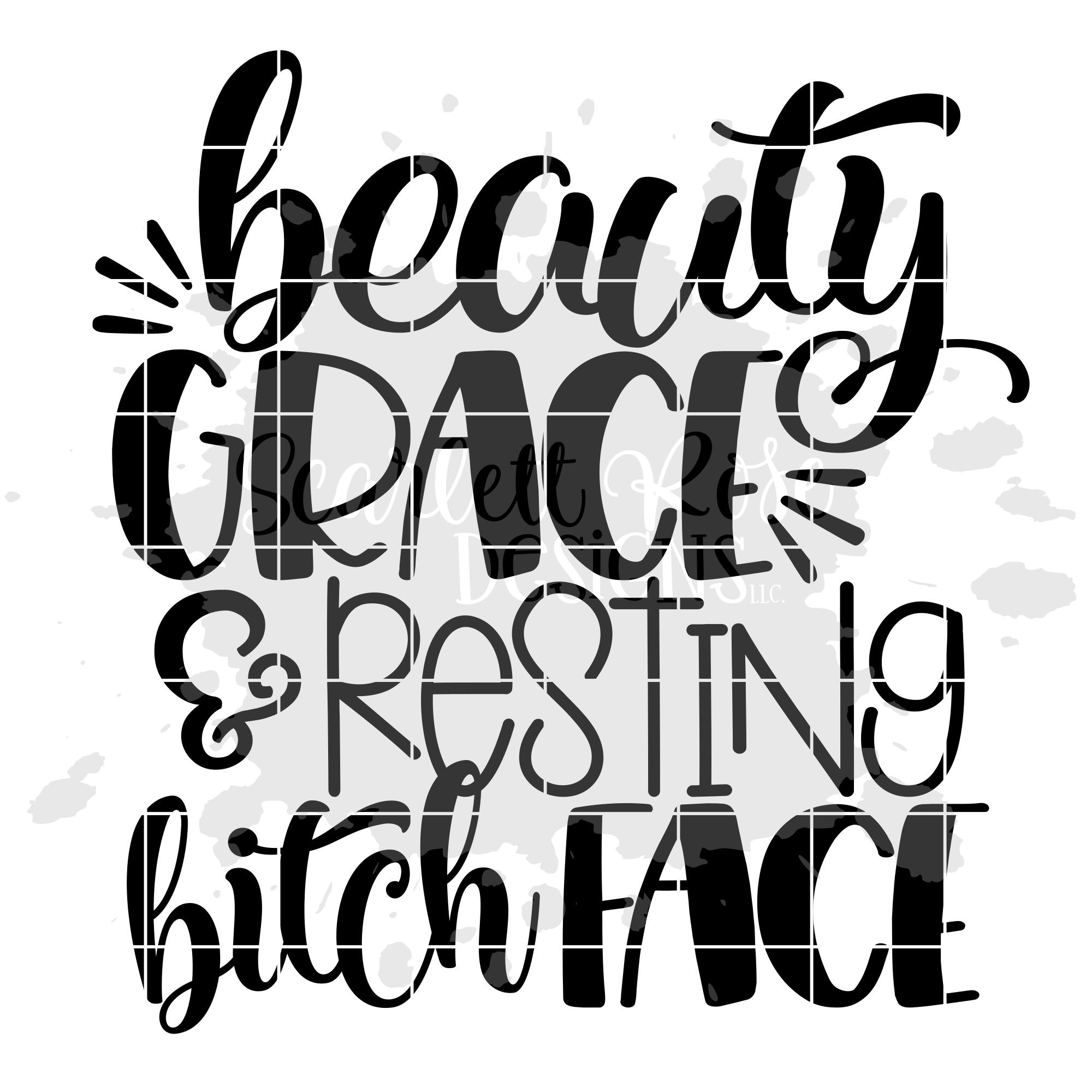 Beauty Grace & Resting Bitch Face SVG example image 2