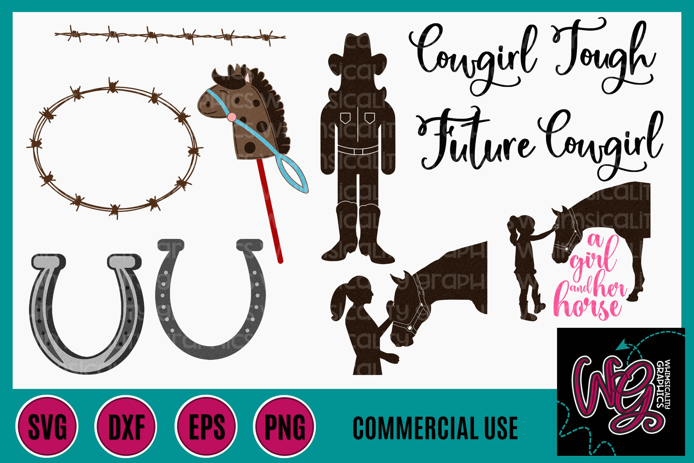 Cowgirl Bundle SVG DXF PNG EPS Comm example image 1
