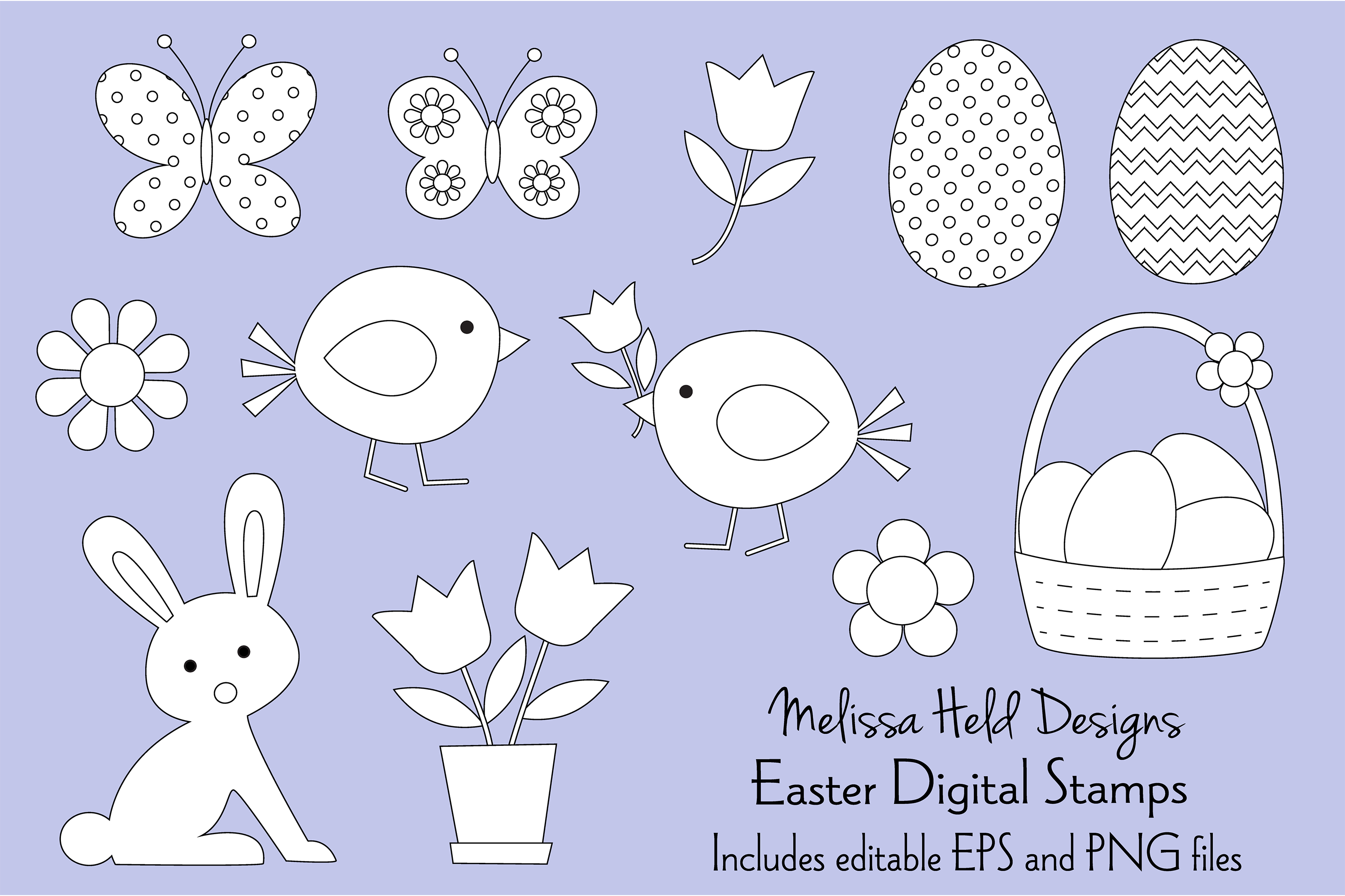 Easter Digital Stamps Clipart example image 1