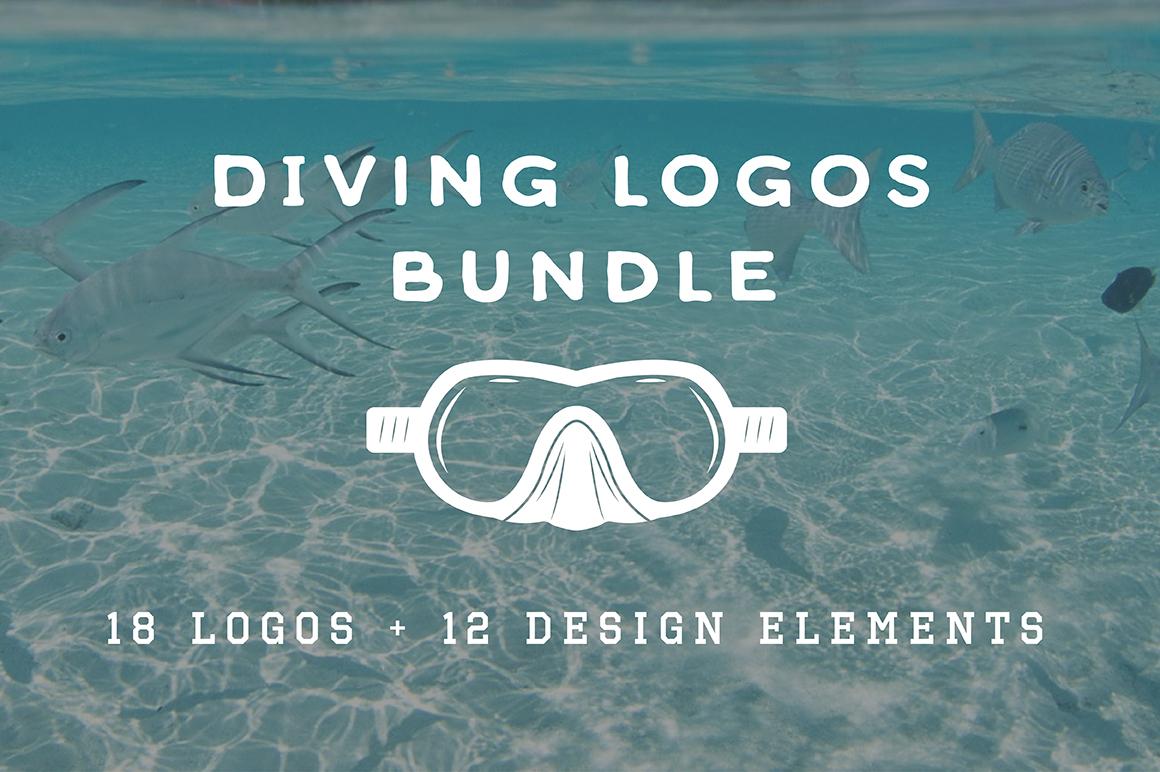 Set of vintage diving emblems example image 1
