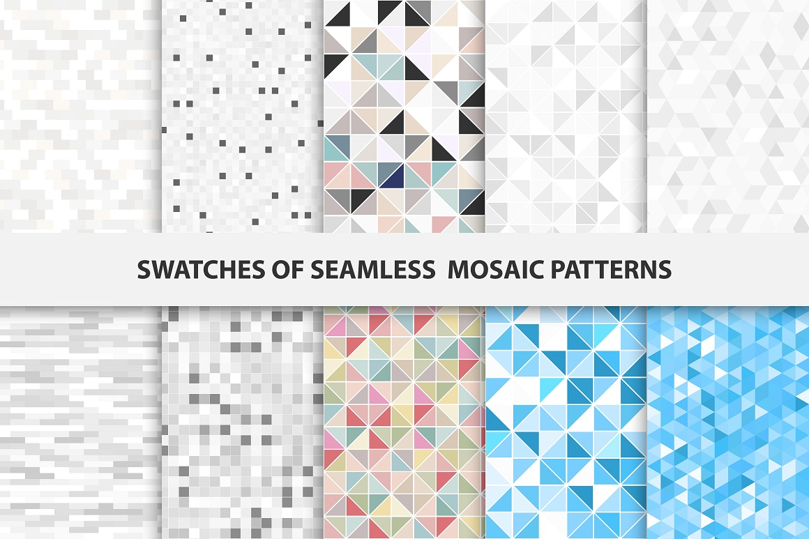 Swatches of mosaic seamless patterns example image 1