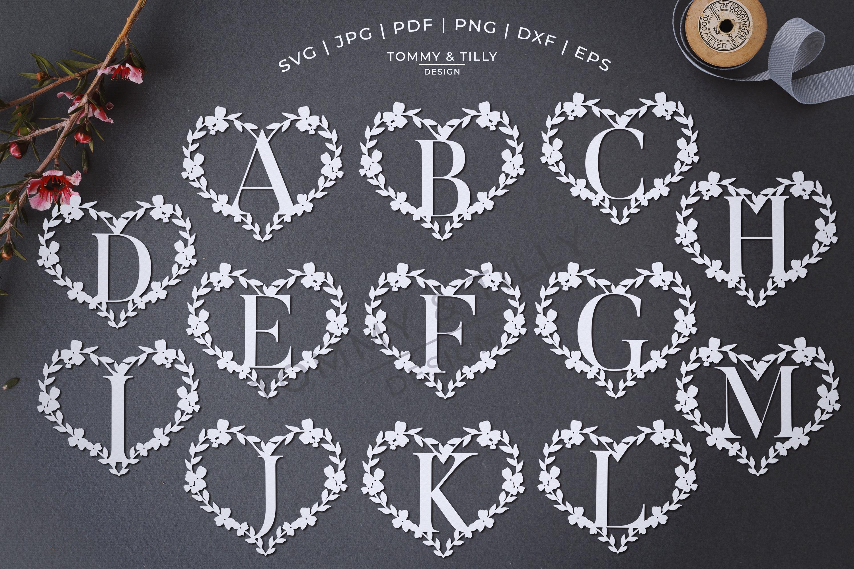 Heart A-Z Alphabet - Papercut SVG DXF PNG EPS JPG PDF example image 2