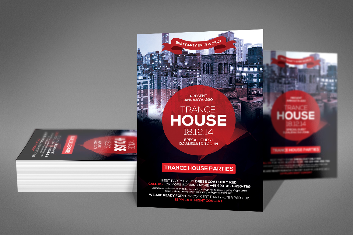 Trance House Party Flyer example image 2
