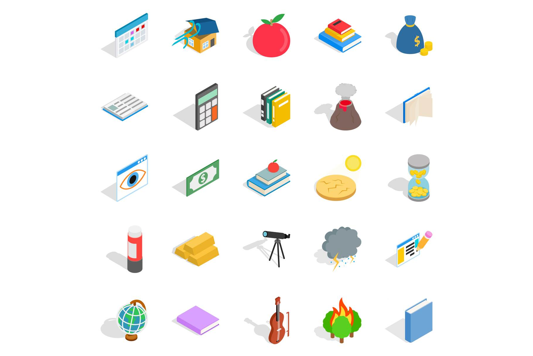 Chemical reactions icons set, isometric style example image 1