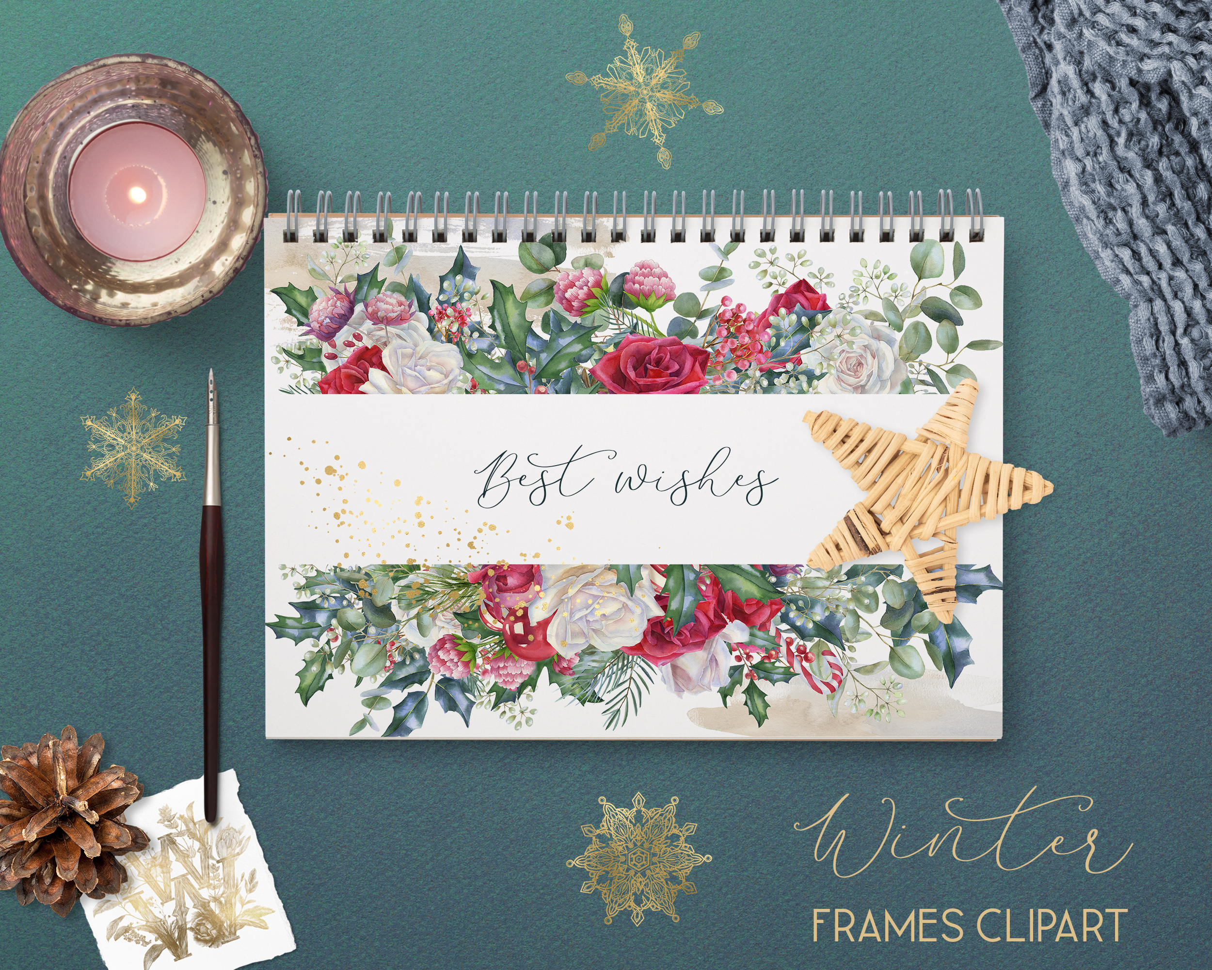 Winter frames clipart, watercolor Christmas borders png example image 7