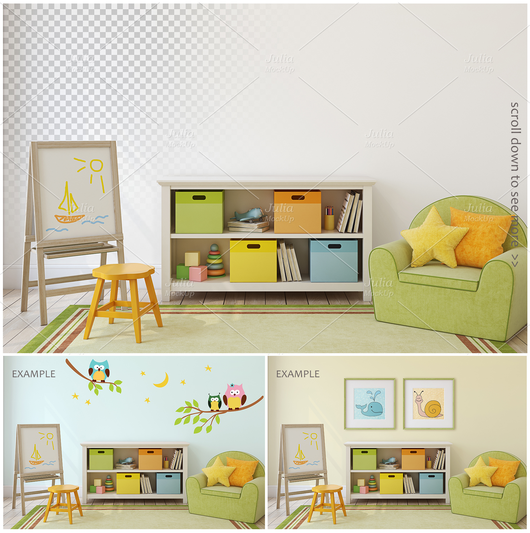 Kid's interiors. Wall&Frames Mockup. example image 5
