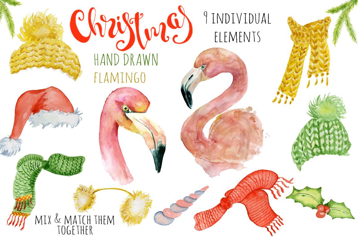 Christmas pink flamingo watercolor creator example image 2