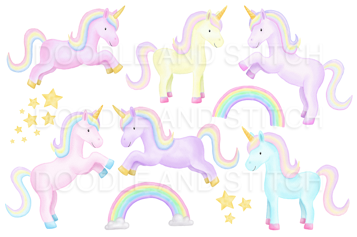 Unicorn Watercolor Illustrations example image 3