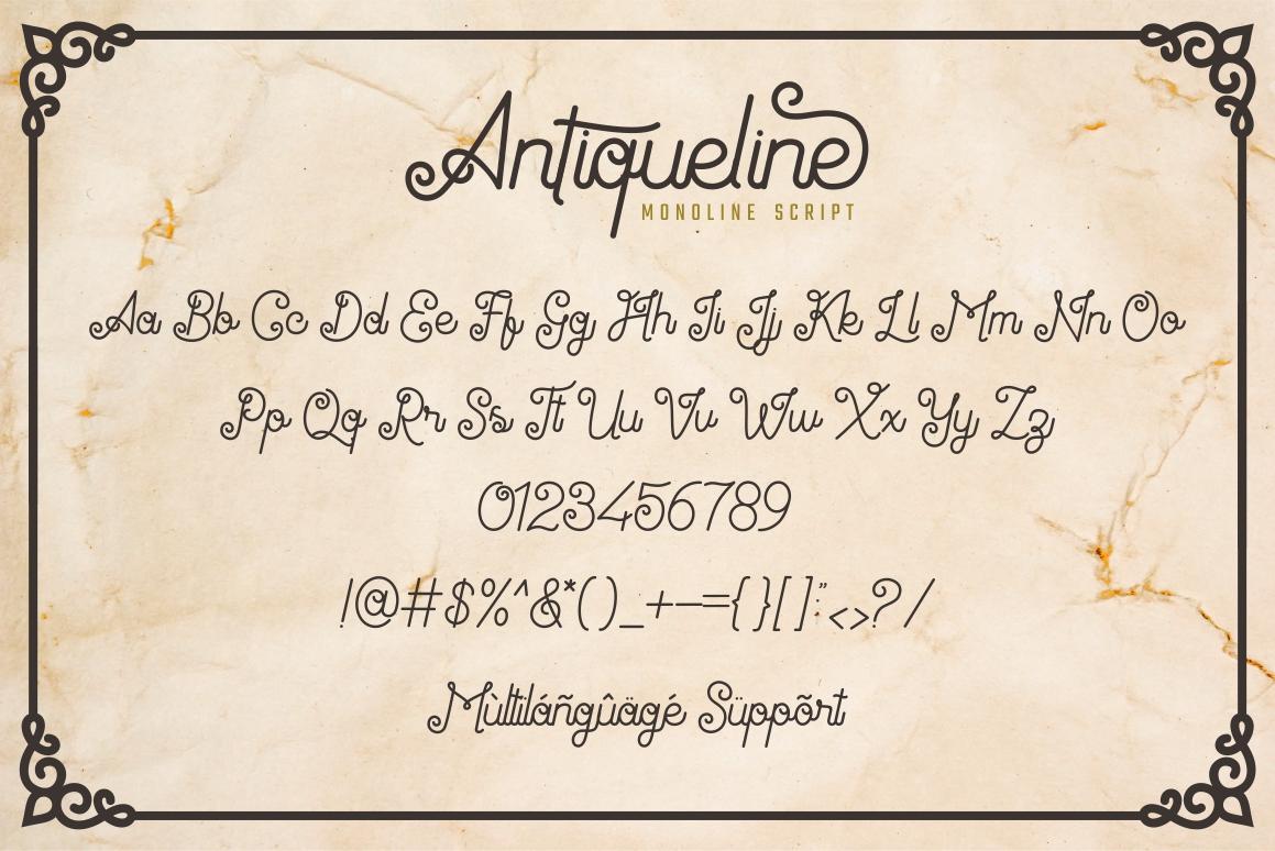 Antiqueline - Monoline Typeface example image 10