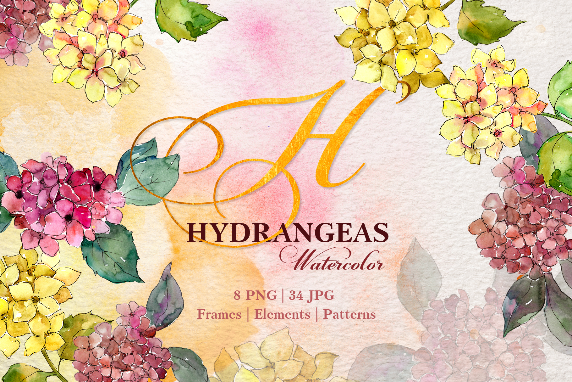Hydrangeas Yellow-pink Watercolor png example image 1