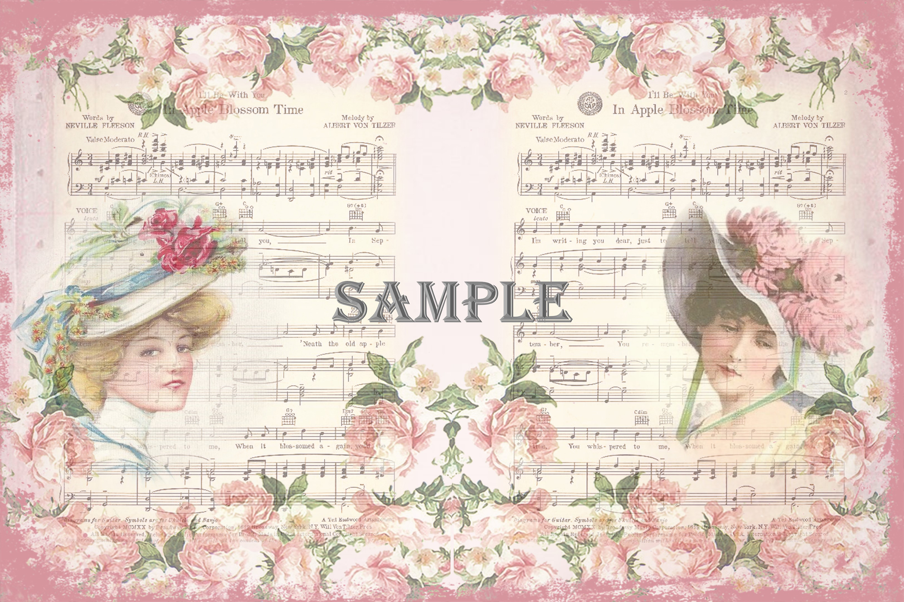 Vintage Ladies Backgrounds, Collage or Journal Sheets, A4 example image 4